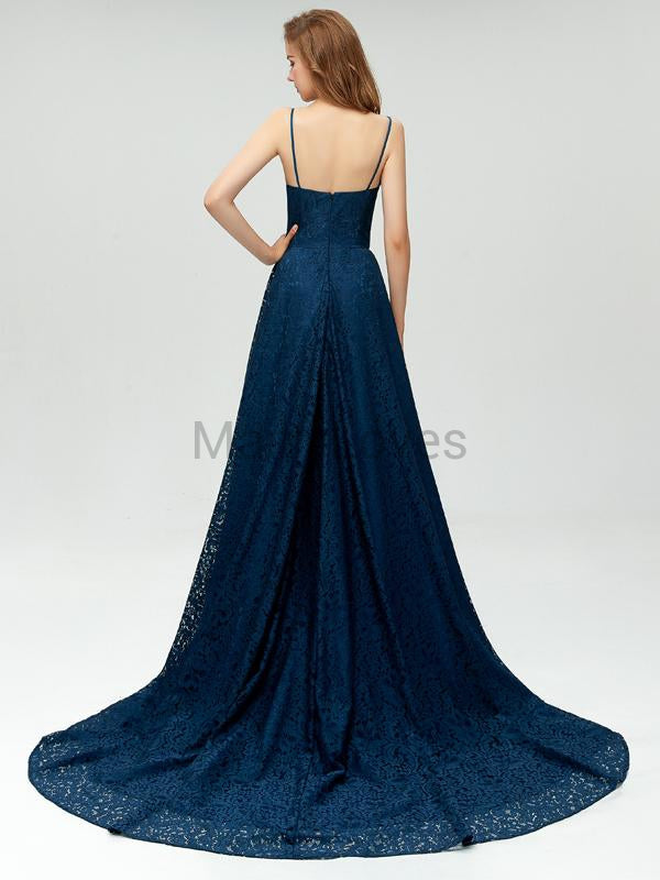 Hot Sale Navy Blue Spaghetti Straps Long Lace Side Slit Prom Dresses, FPD0010