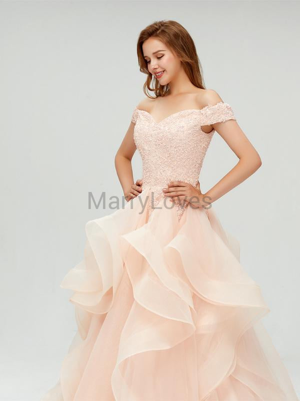 Elegant Off-The-Shoulder Champagne Organza Top Lace Ball Gown Long Prom Wedding Dresses, SPD0028