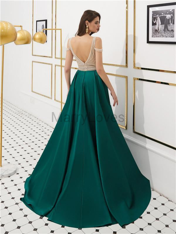 A-line Off-shoulder Beading Top Backless Long Satin Prom Dresses, CPD0029