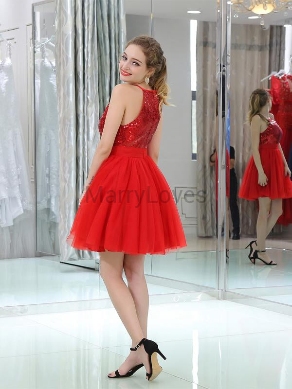 Shiny Sequin Red Halter A-Line Tulle Homecoming Dresses, FHD0001
