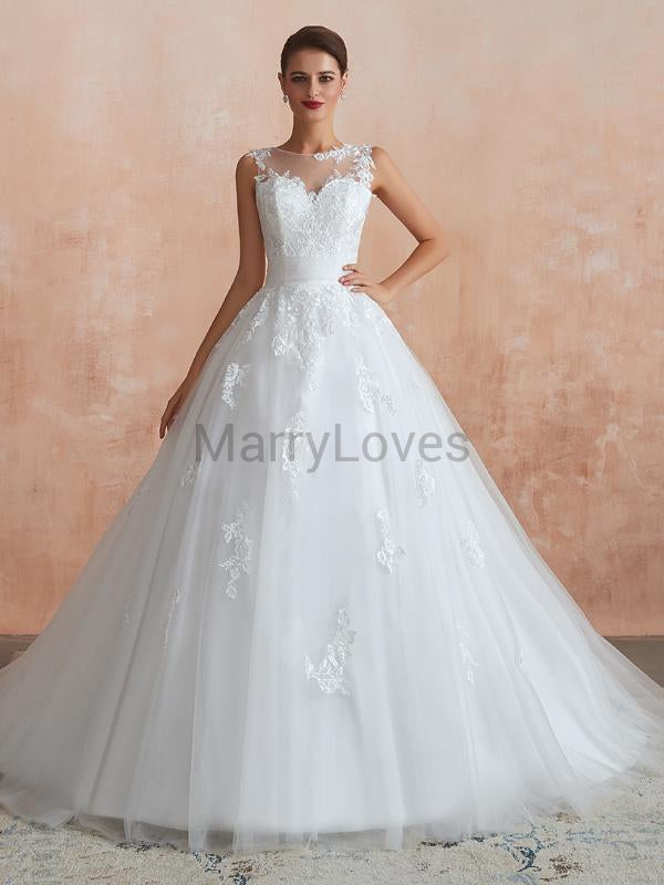 Elegant Ball Gown Round Neck Sleeveless Custom Long Wedding Dresses With Lace,YWD0005