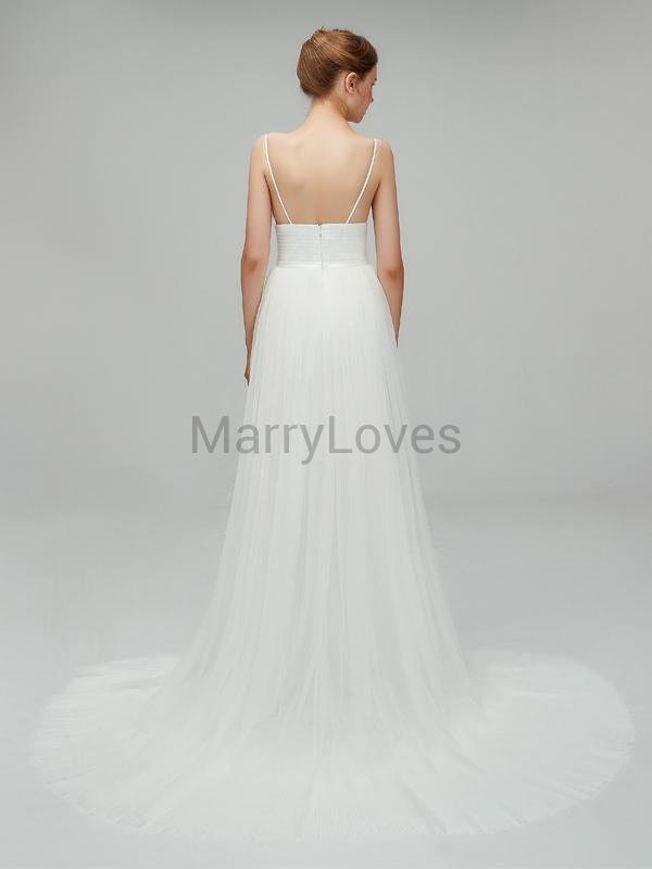 Newest Simple Charming Spaghetti Strap Ivory Tulle A-line Long Cheap Wedding Dresses, SWD0007