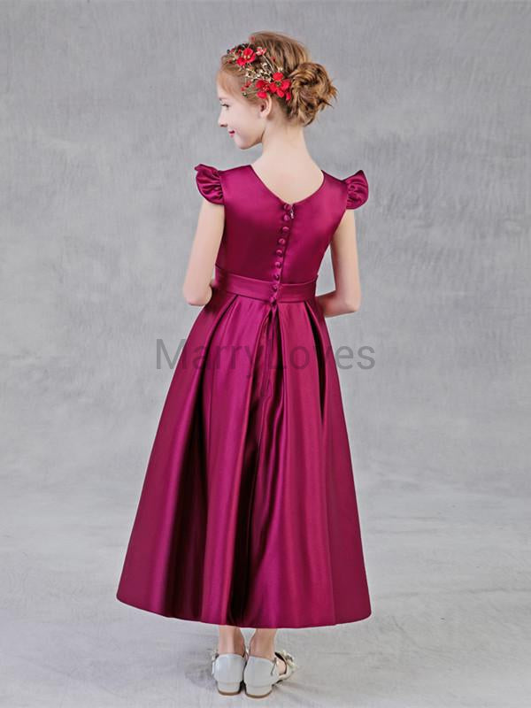 A-line Cap-sleeve Satin Pleats Long Flower Girl Dresses with Button and Bow, EFG0012