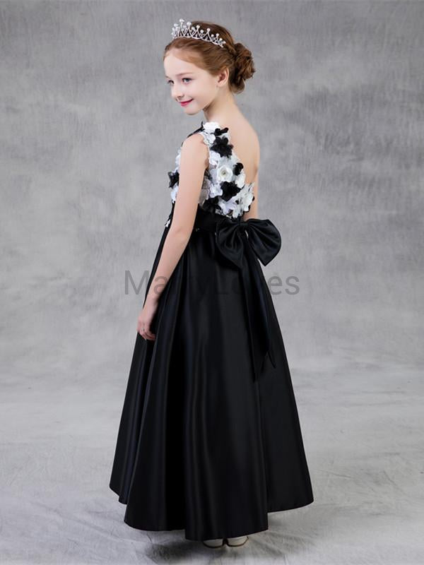 A-line Princess Ankle-length One-shoulder Tulle Satin Appliqued Flower Girl Dresses with Big Bow, EFG0002