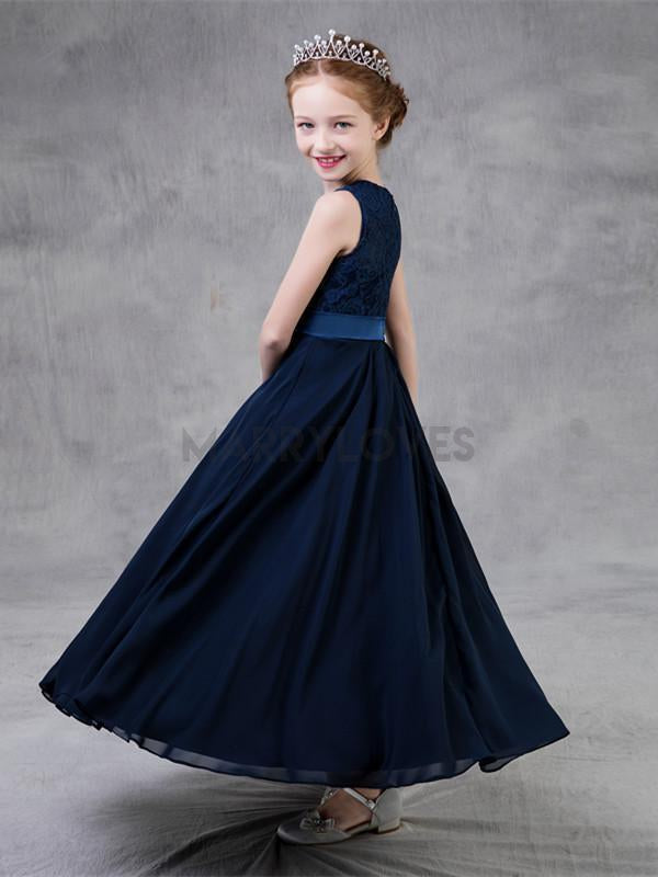 A-line Ankle-length Lace Top Navy Blue Chiffon Flower Girl Dresses, CFG0002