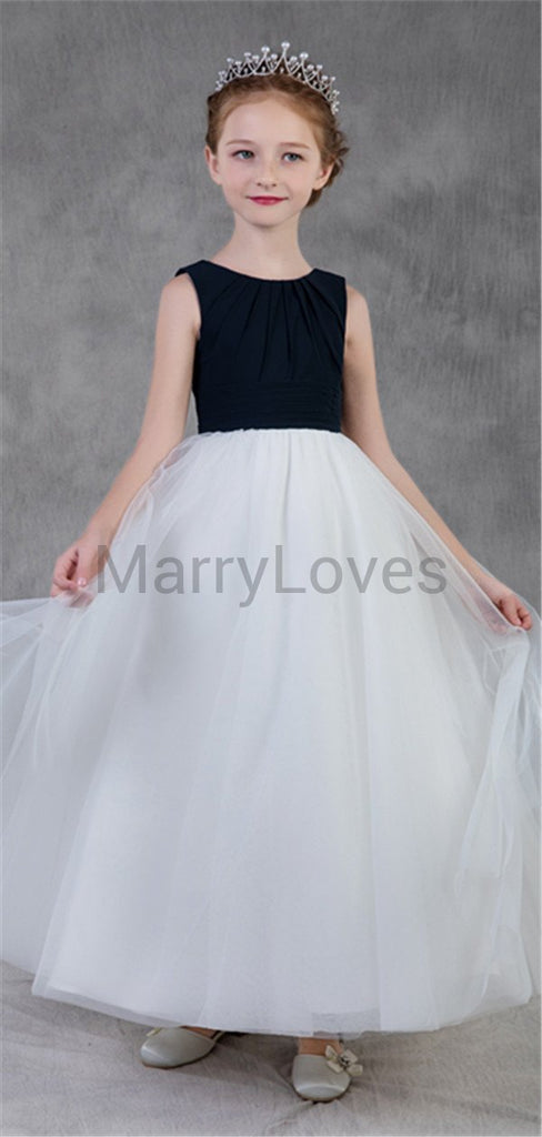 A-line Round-neck Satin Pleats Long Flower Girl Dresses, EFG0021
