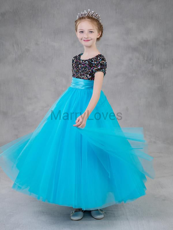 A-line Colorful Sequin Short-sleeve Tulle Hem Zipper-closure Flower Girl Dresses, EFG0008