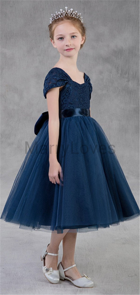 A-line Cap-sleeve Tulle Embroidery Knee-length Flower Girl Dresses with Big Bow, EFG0011