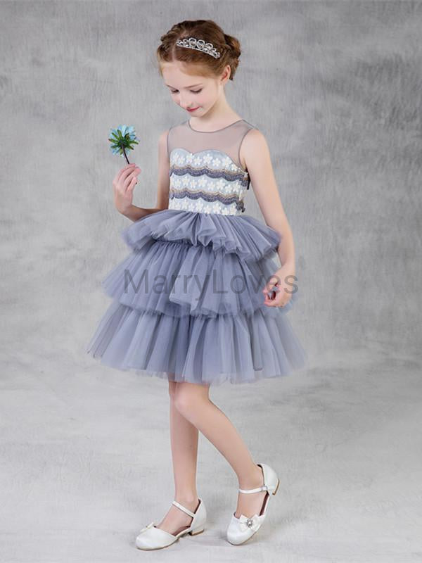 A-line Tulle Appliqued Illusion Flower Girl Dresses with Beading, EFG0017