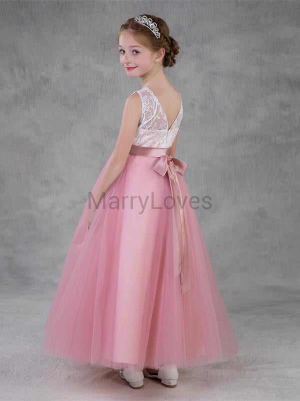 A-line V-neck Tulle Illusion Long Flower Girl Dresses with Bow, EFG0019