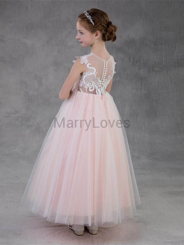 A-line Satin Tulle Illusion Appliqued Long Flower Girl Dresses with Button, EFG0018