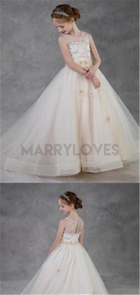Newest See-through Appliqued Organza Flower Girl Dresses With Beading, CFG0001