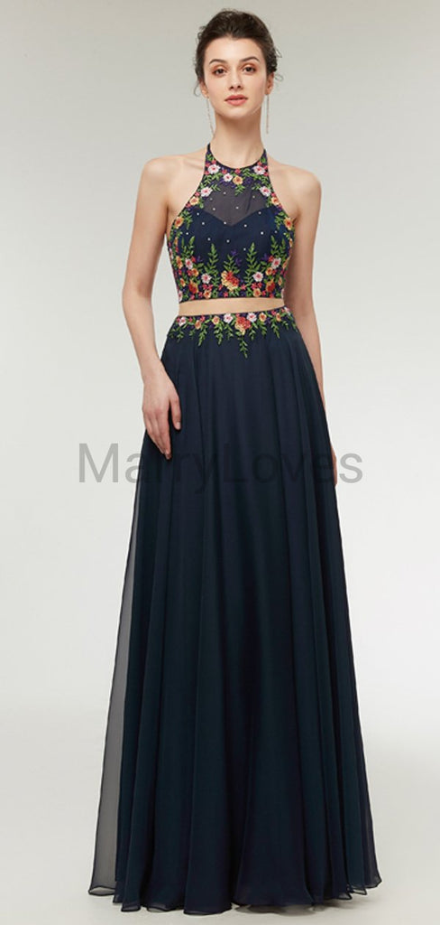 Simple A-Line Two Pieces Round Neck Sleeveless Chiffon Floor Length Prom Dresses With Open Back,YPD0006