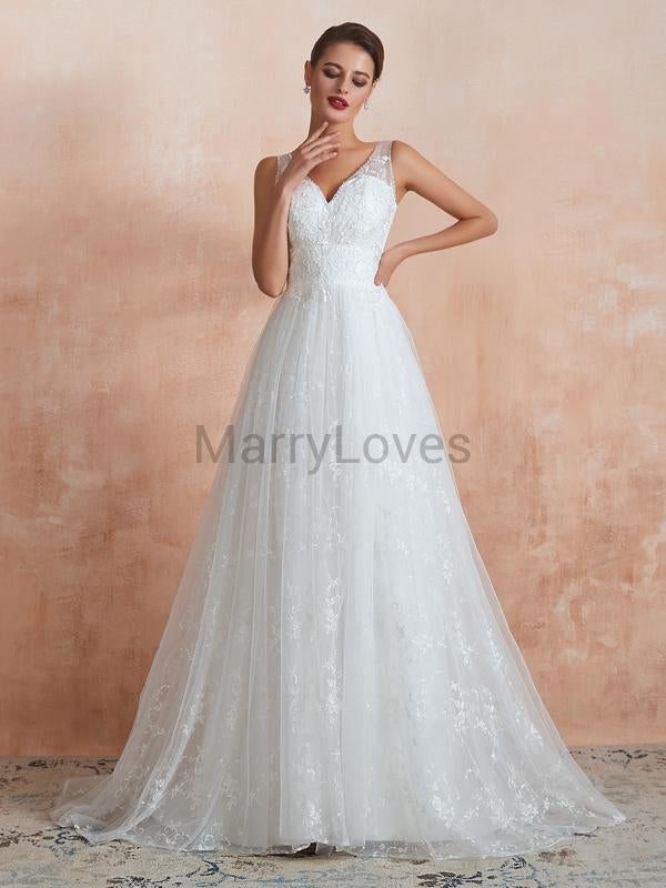 A-Line V-Neck Sleeveless Custom Affordable Long Wedding Dresses With Lace,YWD0006