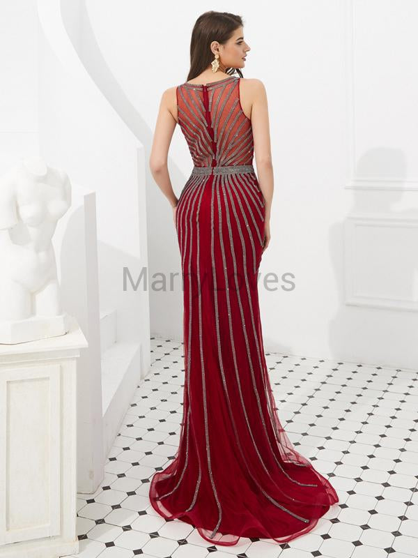 Charming Burgundy Illusion Mermaid Prom Dresses, FPD0004