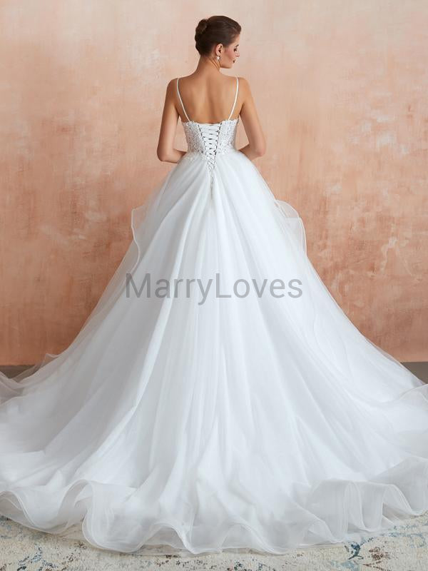 Charming A-Line V-Neck Spaghetti Straps Sweep Train Wedding Dresses With Lace,YWD0007