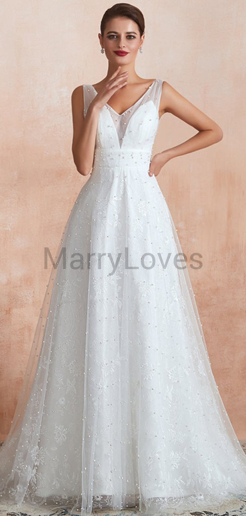 A-Line V-Neck Sleeveless Lace Floor Length Wedding Dresses With Beading,YWD0008