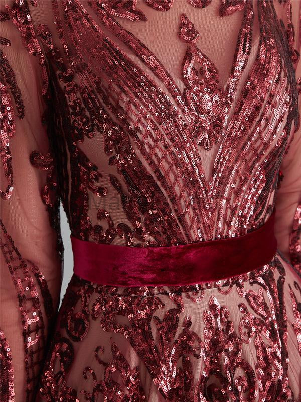 Gorgeous Long Sleeve Burgundy With Sequin Prom Dresses With Sash, FPD0039
