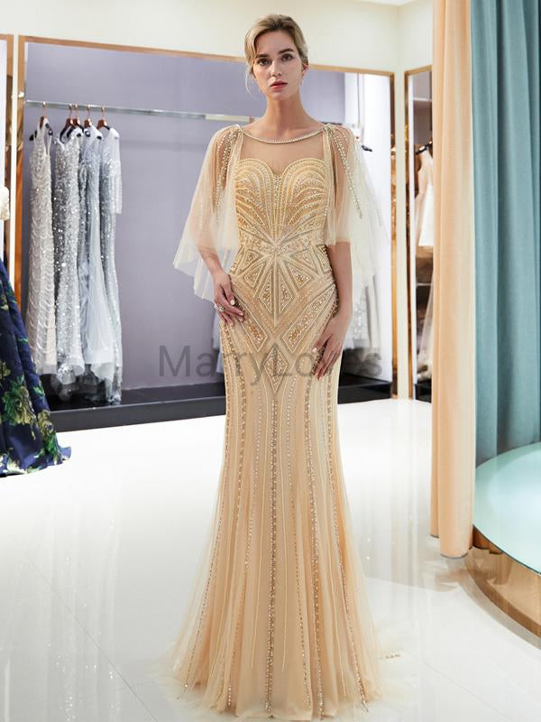 Shiny Illusion Beading Mermaid Prom Dresses, FPD0029