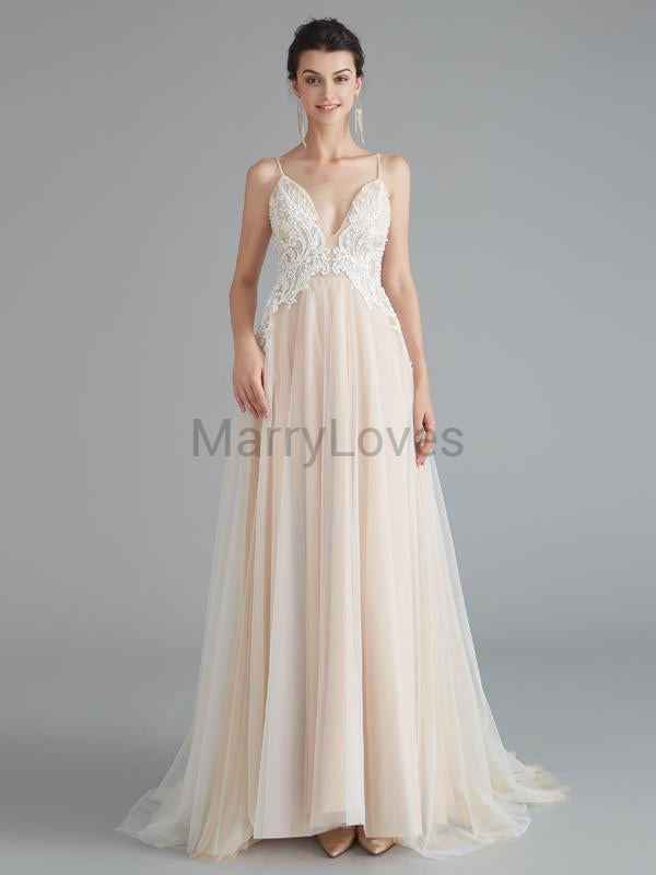 Sexy A-Line Deep V-Neck Spaghetti Straps Cheap Long Wedding Dresses With Lace,YWD0009