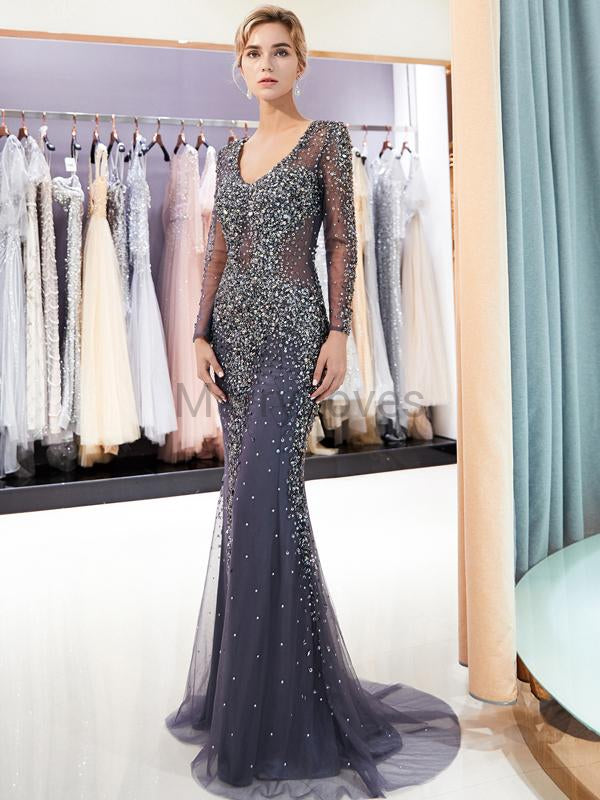 Gorgeous Beading Long Sleeve Mermaid Prom Dresses, FPD0032