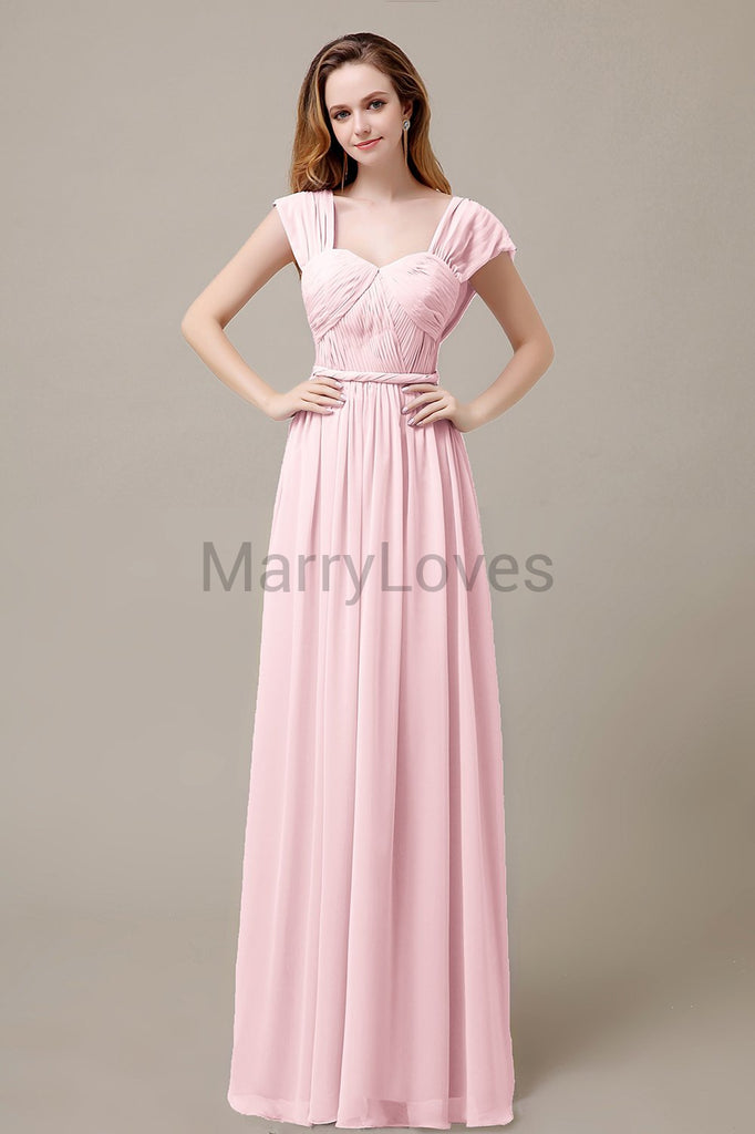 Floor Length Chiffon Bridesmaid Dresses with Pleated