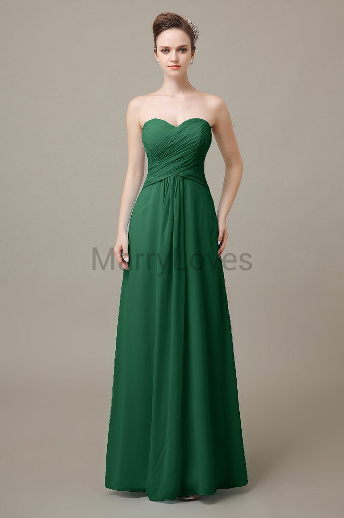 Sweetheart Chiffon Floor Length Bridesmaid Dresses