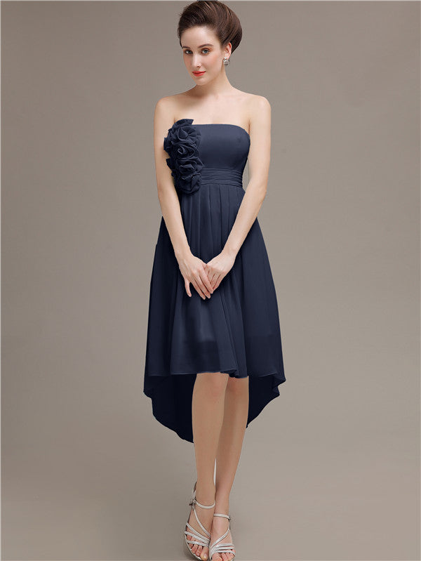 Strapless High Low Chiffon Bridesmaid Dresses
