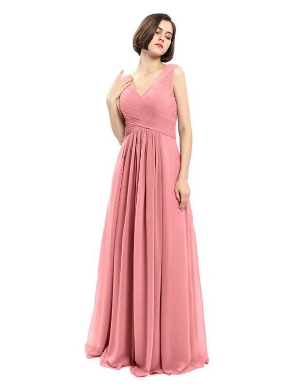 A-line V-neck Sleeveless Chiffon Bridesmaid Dresses