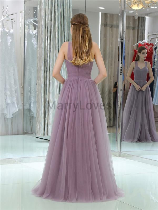 A-line Floor-length Elegant Simple Cheap Long Tulle Prom Dresses, CPD0004