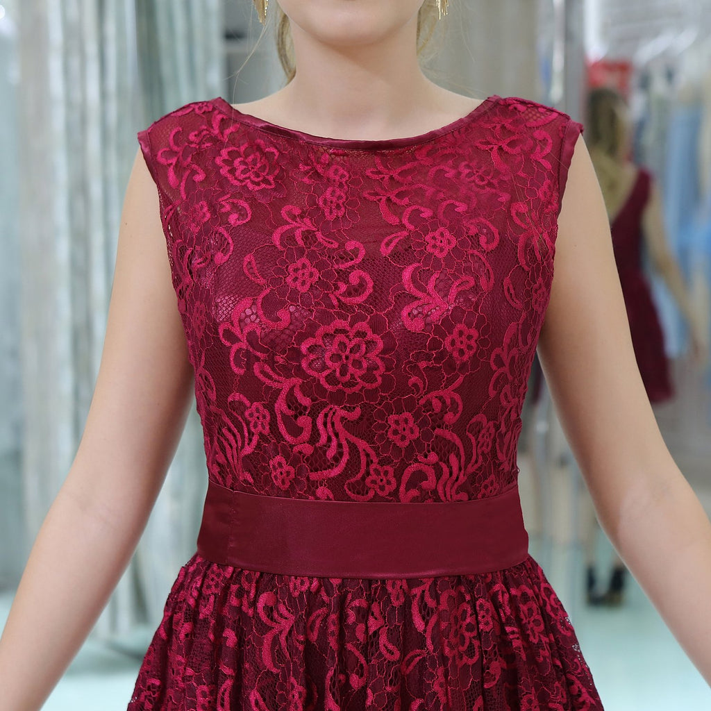 Newest Elegant Charming Scoop Sleeveless A-line Burgundy Lace Short Cheap Homecoming Dresses, SHD0004