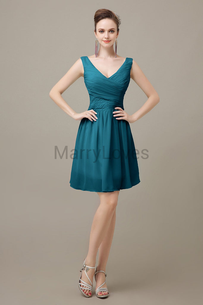 V-neck Chiffon Short Pleats Bridesmaid Dresses