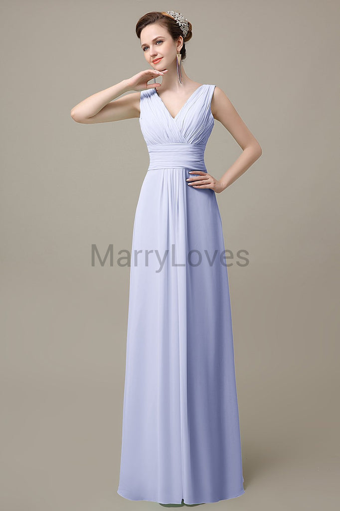 V-Neck Sleeveless Chiffon Bridesmaid Dresses