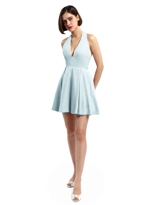 Halter V-neck Short Satin Bridesmaid Dresses