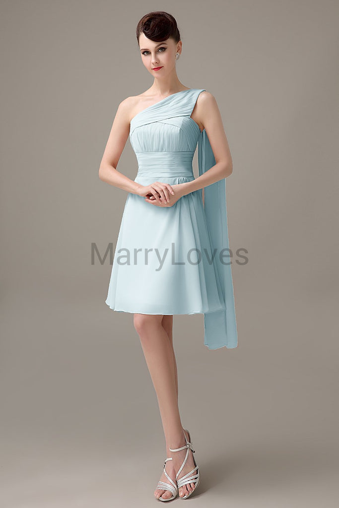 One Shoulder Pleats Bridesmaid Dresses
