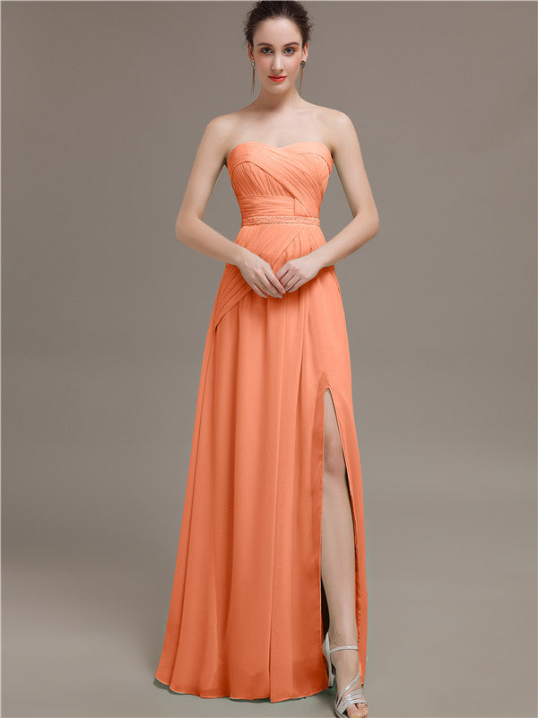 Sweetheart Split Side Bridesmaid Dresses