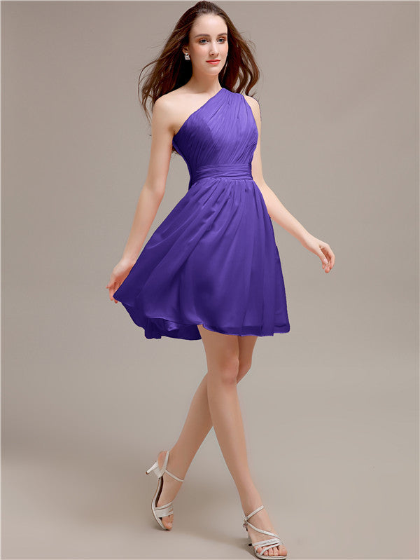 One Shoulder Short A-Line Bridesmaid Dresses