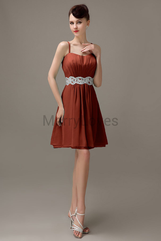 Spaghetti Strap Chiffon Short Bridesmaid Dresses