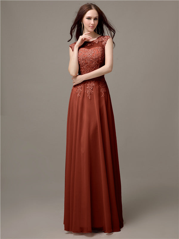 Floor-length Cap Sleeves Appliques Chiffon Bridesmaid Dresses