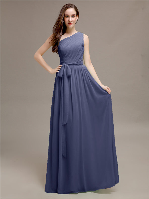 A-line One-shoulder Bridesmaid Dresses With Belt
