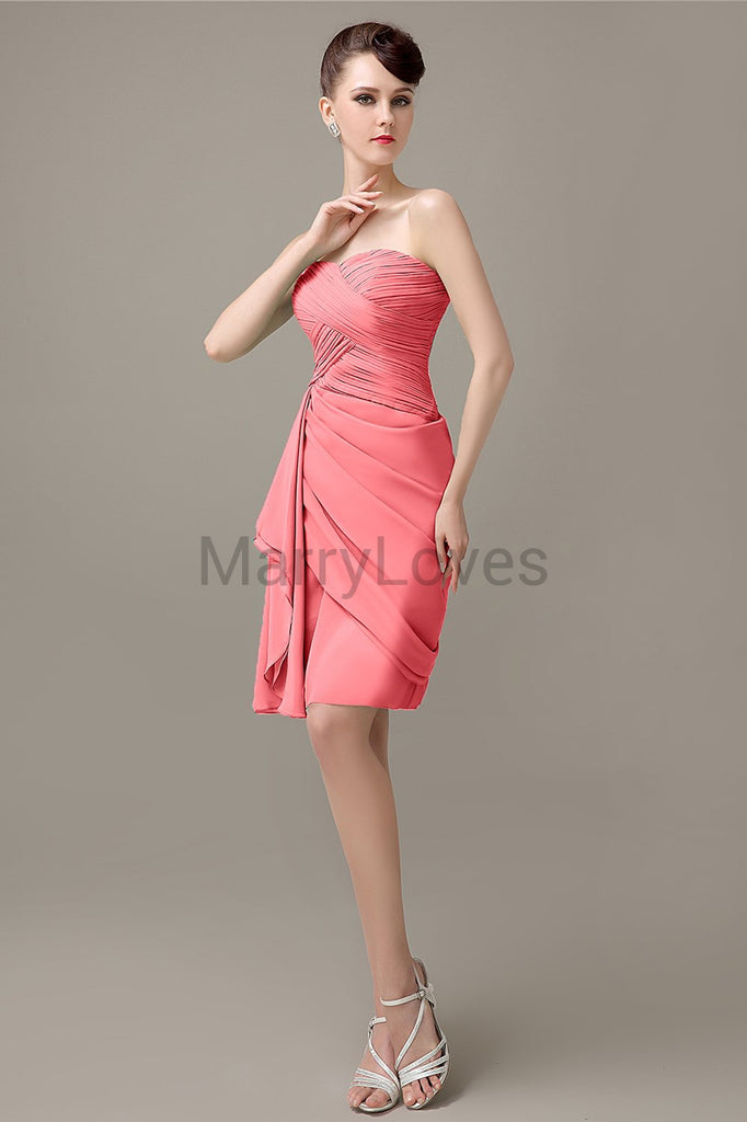 Sweetheart Chiffon Short Bridesmaid Dresses