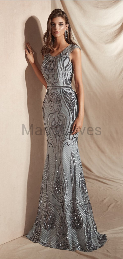 Newest Charming Round Neck Cap Sleeves Grey Heavy Beaded Long Cheap Prom Dresses, SPD0011
