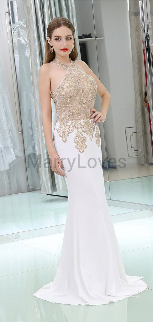 Charming A-line Halter Sleeveless Top Lace Appliqued Long Cheap  Prom Dresses, SPD0003