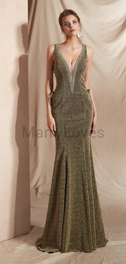 Newest Hot Selling Unique Charming Sexy Deep V-neck Long Cheap Mermaid Prom Dresses, SPD0012