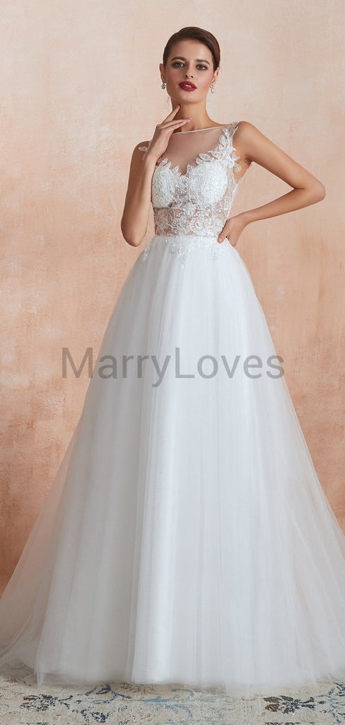 Charming Cute See-Through V-neck Sleeveless Lace Top Ivory Tulle A-line Long Cheap Wedding Dresses, SWD0015