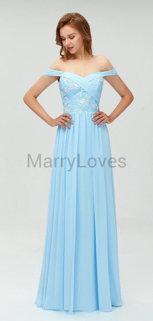 Charming Off-The-Shoulder Light Blue Chiffon Top Appliqued Long Cheap Prom bridesmaid Dresses, SPD0024