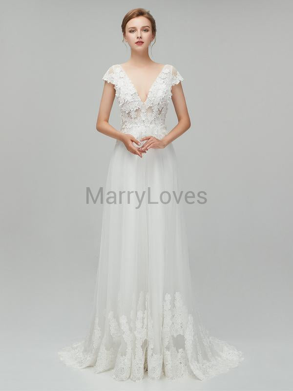 Simple Cute Charming V-neck Cap Sleeves A-line Tulle Long Cheap Wedding Dresses, SWD0014