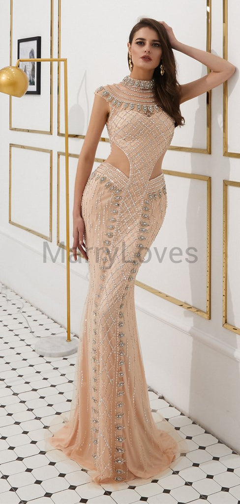 Newest Sexy High Neck Cap Sleeves Champagne Heavy Beaded Long Mermaid Prom Dresses, SPD0017