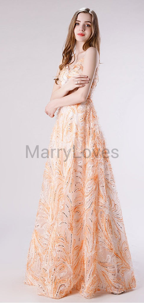 Newest Charming Elegant Spaghetti Strap A-line Long Cheap Lace Formal Prom Dresses, SPD0033