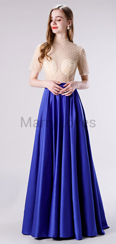 Newest Simple Charming High Neck Short Sleeve Royal Blue A-line Long Cheap Stain Prom Dresses, SPD0034
